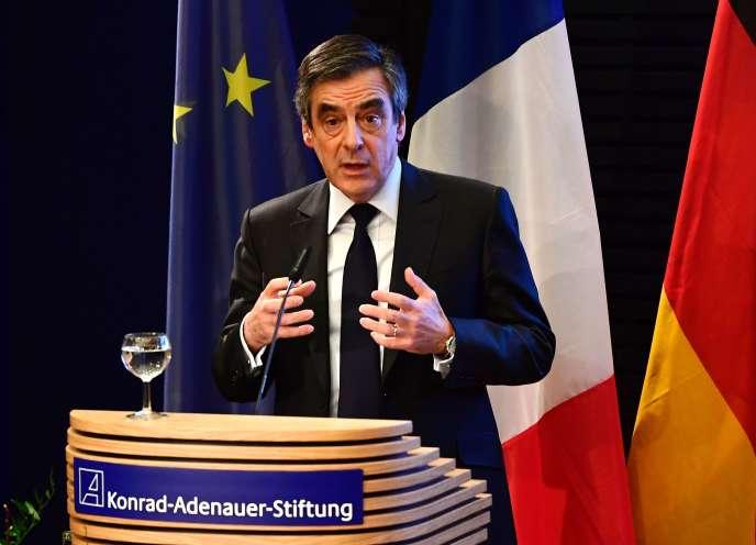 François Fillon, lors d'un discours à la Fondation Konrad-Adenauer, le 23 janvier à Berlin.