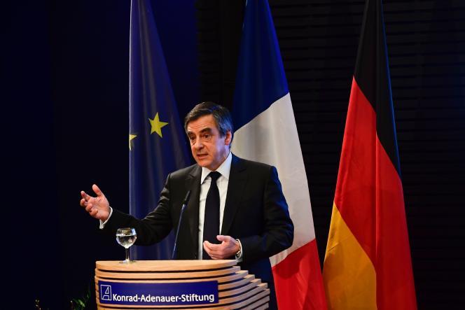 François Fillon s'exprimant devant la Fondation Konrad-Adenauer, le 23 janvier à Berlin.
