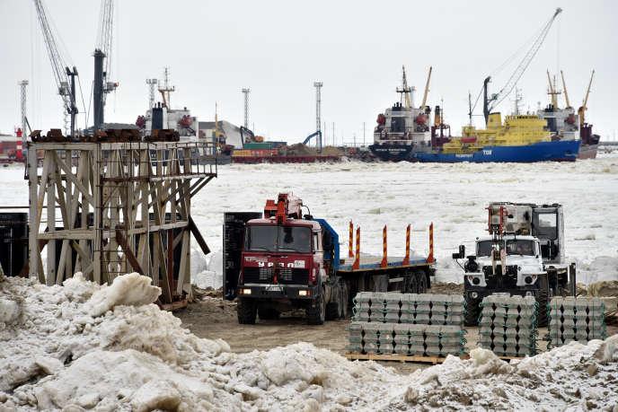 Chantier du terminal de gaz naturel liquéfiéYamal LNG, situé dans la péninsule de Yamal, dans le Grand Nord russe.