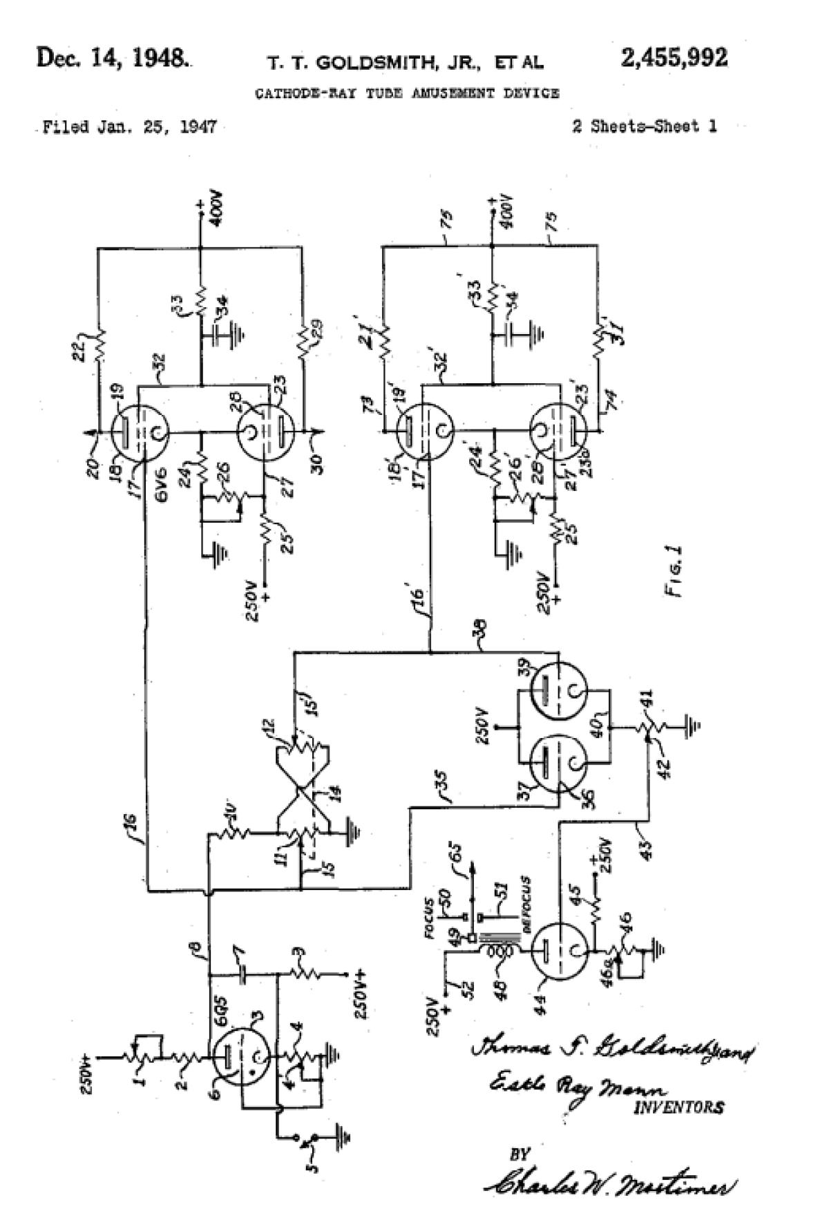 Cet austère brevet est l'ultime trace connue du plus ancien projet de jeu vidéo. Sa demande a été déposée en 1947, et validée en 1948.