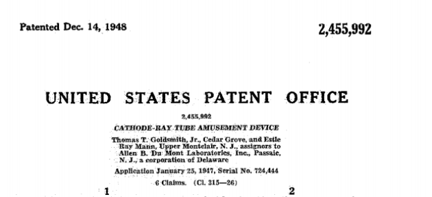 Page de garde du brevet n° 2 455 992, plus ancien projet de jeu vidéo connu.