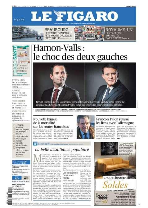 « Le Figaro », fait rare, titre comme«Libération». « La victoire de Benoît Hamon ou de Manuel Valls (…) ne réglera évidemment rien pour le PS », assure l'éditorialiste Paul-Henri du Limbert.
