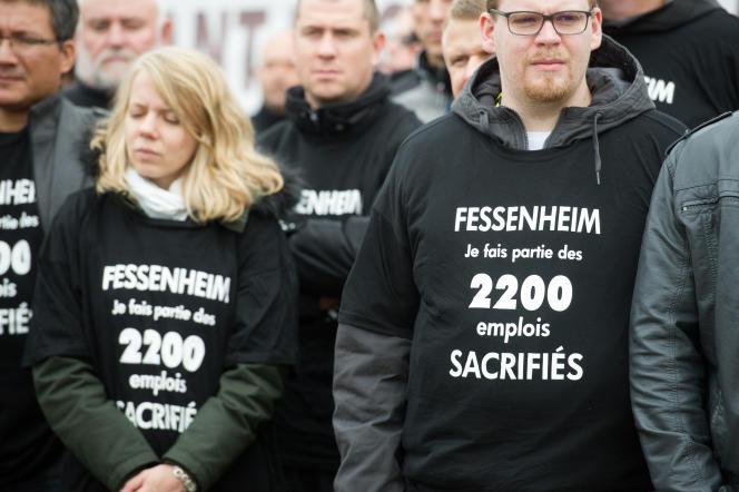 Manifestation en 2015 des employés de la centrale nucléaire de Fessenheim.