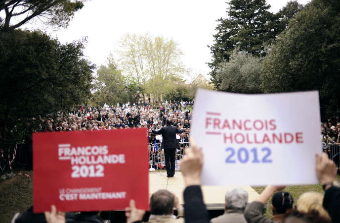 Le candidat François Hollande, lors d'un meeting à Narbonne (Aude), le 5 avril 2012.