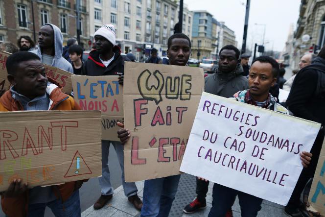 Migrants, lors d'une manifestation au Havre, en décembre.