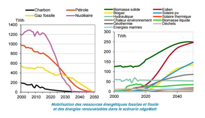 Fossiles et nucléaire remplacés par des ressources renouvelables.