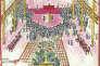 « La cérémonie du mariage a eu lieu [en 1948] dans la salle de réception du Grand Hôtel du Jiangxi. Au centre de l'estrade se tient l'officier de mariage, Hu Jiafeng, alors gouverneur de la province. A sa gauche se trouve l'hôte, mon père, et à sa droite le maître de cérémonie. Mon cousin Dazheng, qui avait alors 16 ans, était le garçon d'honneur, et la demoiselle était ma cousine Daxin, alors âgée de 14 ans. » Dessin de Rao Pingru, extrait de « Notre histoire ».