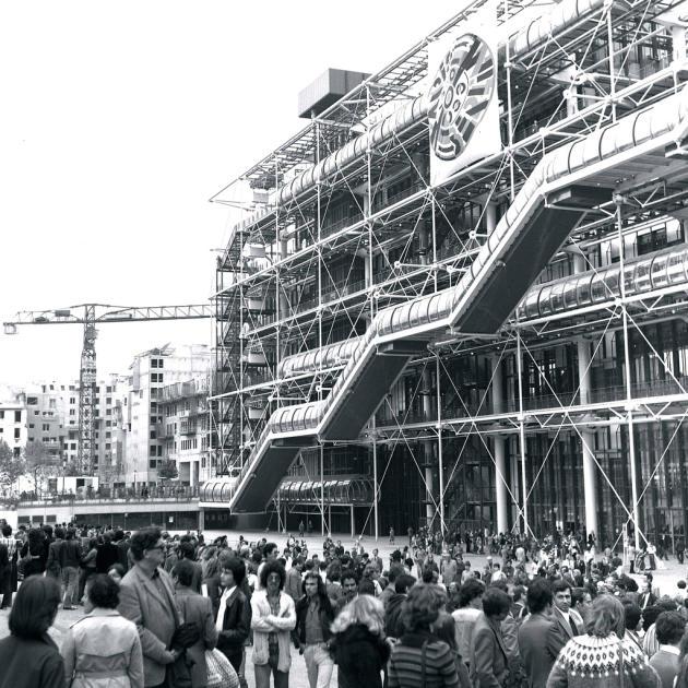 Le Centre Pompidou en octobre 1978, un an après son inauguration.