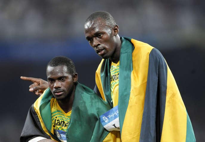 Usain Bolt et Nesta Carter (à gauche) lors des Jeux de Pékin, en 2008.