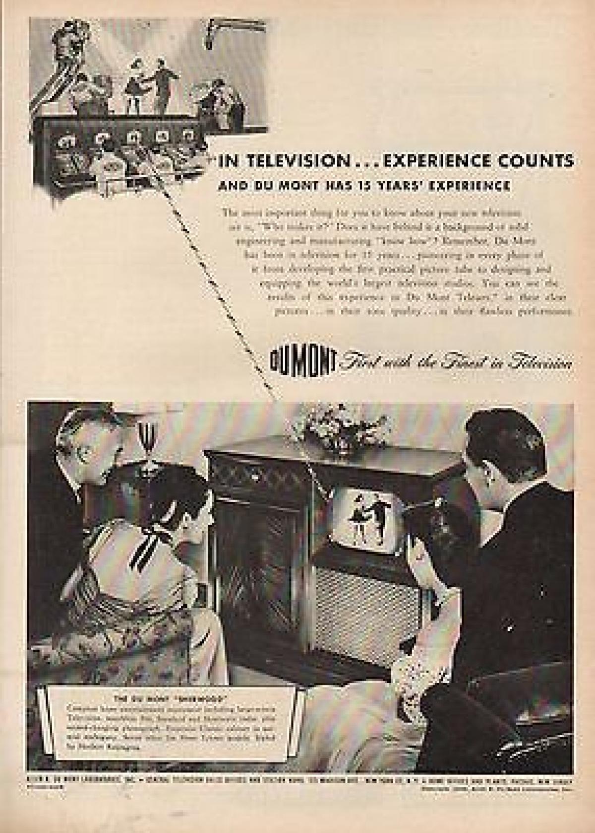 Publicité pour les postes de télévision DuMont, en 1946.