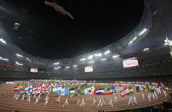 Cérémonie de clôture des Mondiaux d'athlétisme de Pékin, le 30 août 2015.