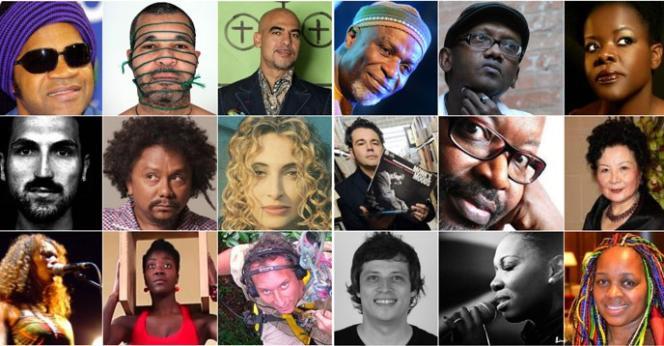 Artistes membres de la Coalition internationale pour l'«Histoire générale de l'Afrique» lancée par l'Unesco en octobre 2015.