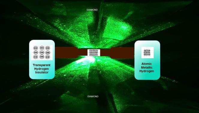 Vue des deux enclumes en diamant qui compressent l'échantillon d'hydrogène, le faisant passer de l'état gazeux à l'état solide.