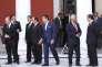 Des dirigeants des gauches européennes, dont François Hollande, Alexis Tsipras et le premier ministre portugais, Antonio Costa, au sommet des pays méditerranéens de l'UE, à Athènes, en septembre 2016.