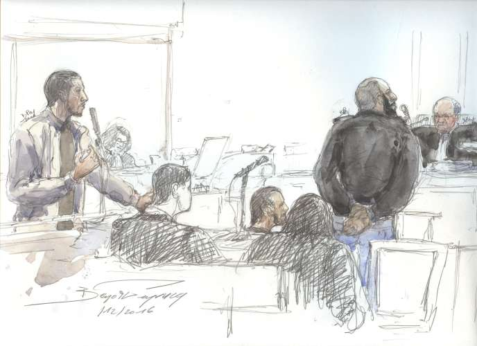 Croquis d'audience réalisé durant le procès de trois hommes suspectés d'être des djihadistes, en décembre 2016, à Paris.