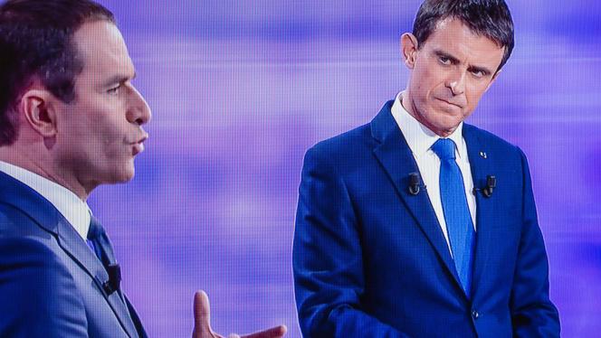 Lors du débat entre Benoît Hamon et Manuel Valls, mercredi 25 janvier.
