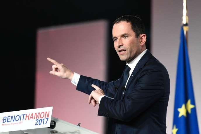 Benoît Hamon lors de son meetinfg à Montreuil le 26 janvier.