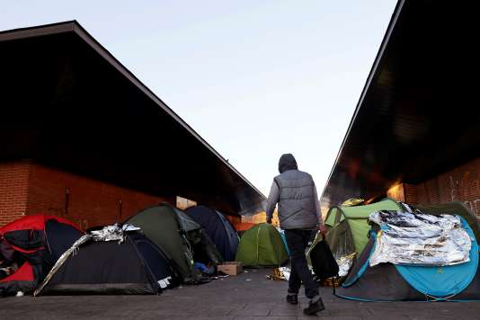 Camp de réfugiés, à Saint-Denis (Seine-Saint-Denis), en décembre.