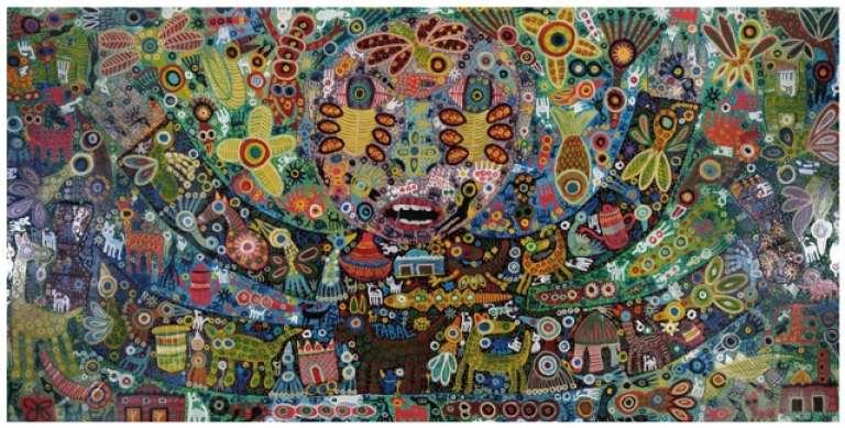 Une oeuvre de Mohamed Tabal de l'exposition« Essentiel paysage» du musée Al-Maaden de Marrakech