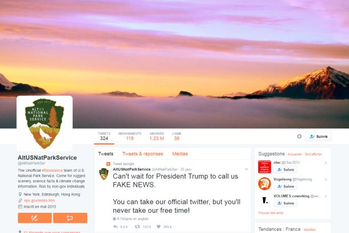 Le compte Twitter alternatif du National Park Service (NPS).