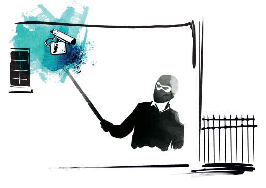 «Une perche à selfie pour ma caméra», illustration du livre Hacker Citizen de Geoffrey Dorne.