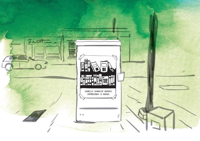 «Bibliothèque de rue», illustration du livre «Hacker Citizen» de Geoffrey Dorne