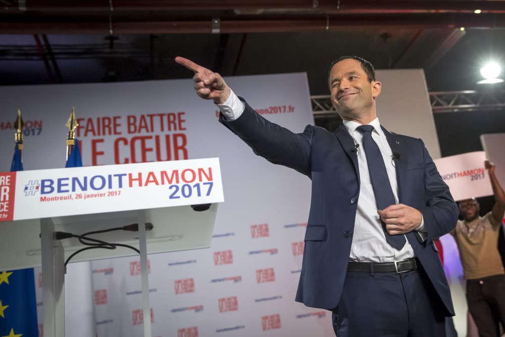 Benoît Hamon lors de son dernier meeting de campagne en Ile-de-France.