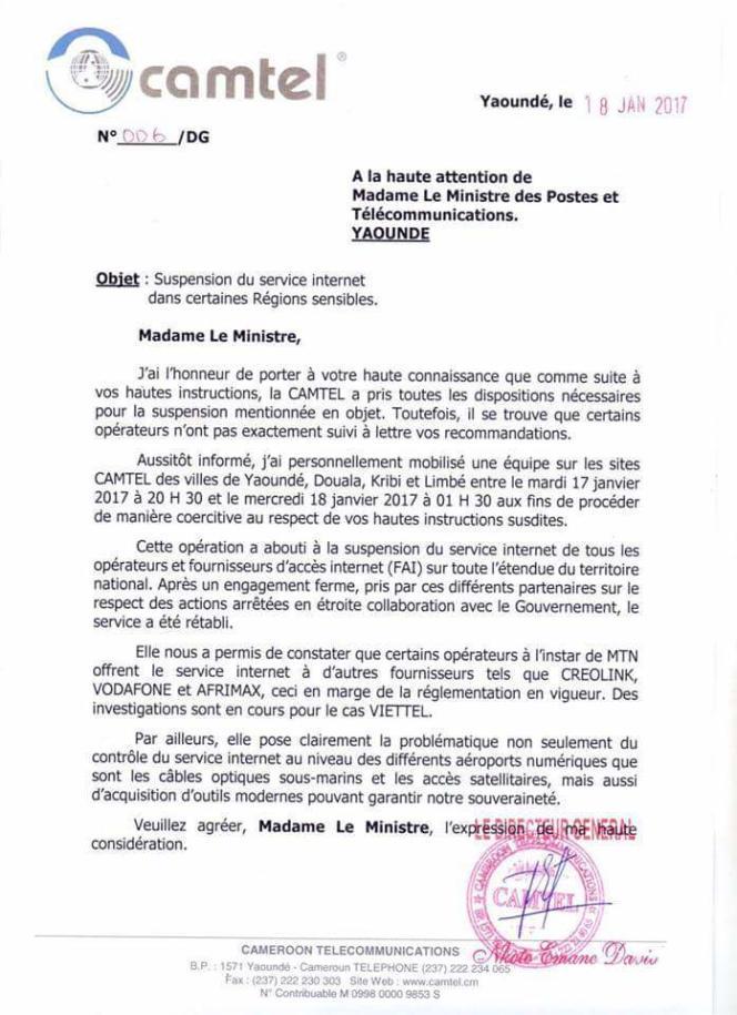 Lettre non authentifiée obtenue par les hackers de la Cameroon Cyber Force du directeur général de Camtel à la ministre des communications.
