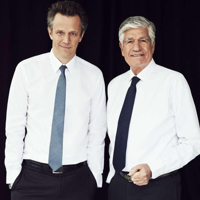 Arthur Sadoun et Maurice Lévy, à Paris en janvier.