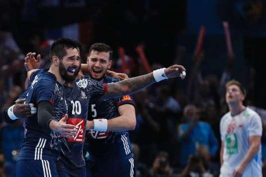 Karabatic, Sorhaindo et Remili à la fin de la finale contre la Norvège.