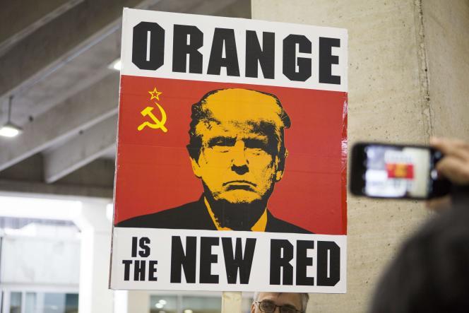 Une pancarte à l'aéroport de Philadelphie, le 29 janvier.