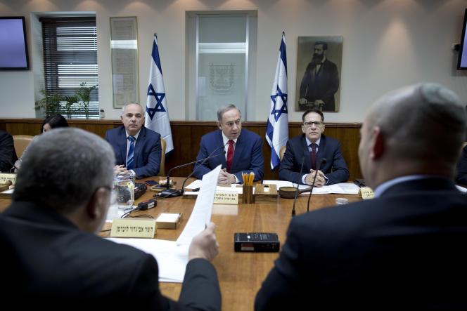 Benyamin Nétanyahou, le 29 janvier lors d'un conseil des ministres, à Jérusalem.