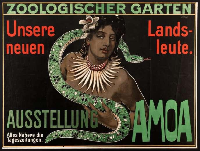 Une affiche qui présente un spectacle« exotique» au Musée zoologique de Berlin au début du XXe siècle.
