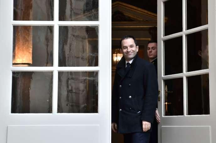 Benoît Hamon quittant Matignon, à Paris, le 30 janvier.