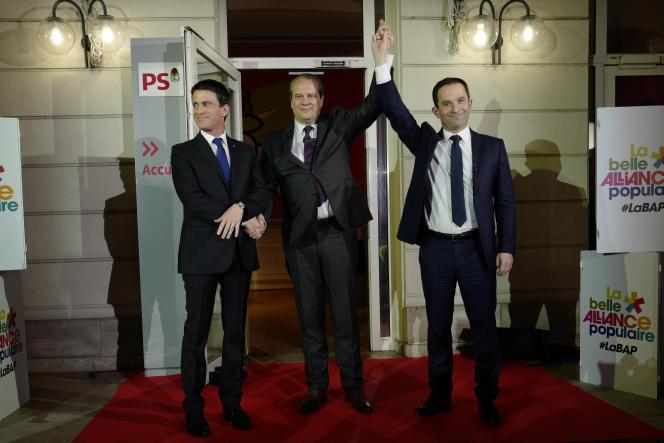 Manuel Valls, Jean-Christophe Cambadélis et Benoît Hamon, le 29 janvier au siège du Parti socialiste.