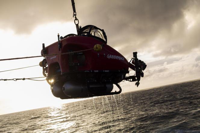 Chaque entrée ou sortie de l'eau du sous-marin de la société canadienne Nuytco Research passe par les airs, au-dessus du pont de l'«Esperanza». Dans la mer, un zodiac et un plongeur de Greenpeace assurent la sécurité des opérations.