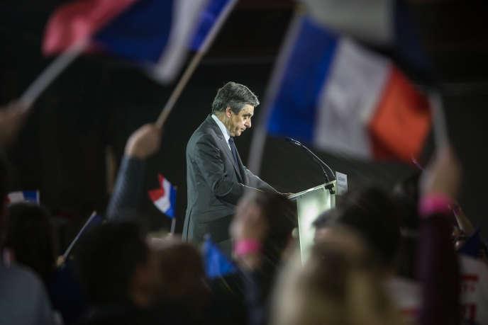 Pendant le discours de François Fillon lors de son meeting du 29 janvier 2017 à la Villette.