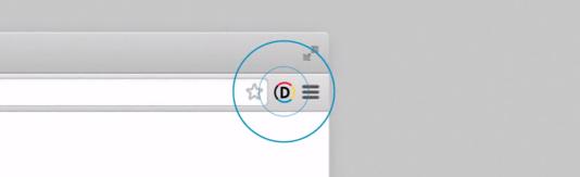 Une fois installée, l'extension s'affiche en haut à droite de votre navigateur.