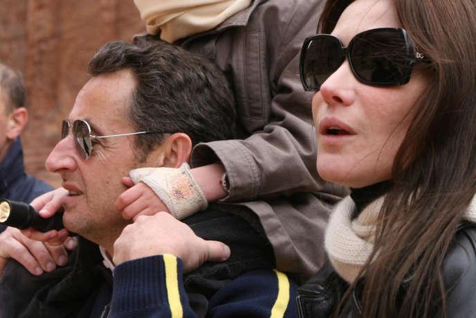 Nicolas Sarkozy et Carla Bruni à Pétra, en Jordanie, en janvier 2008.