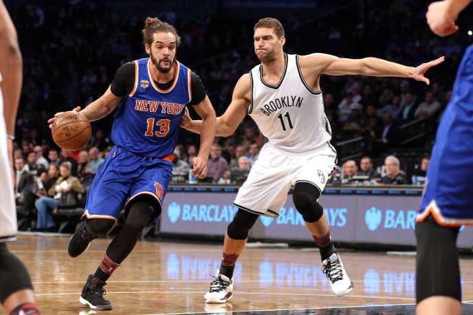 Le 1er février 2017, Joakim Noah (n° 13) lors d'un match des New York Knicks contre lesBrooklyn Nets.