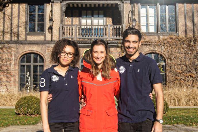Agathe, Camille et Nathan, coéquipiers du PeaceBoat Project.
