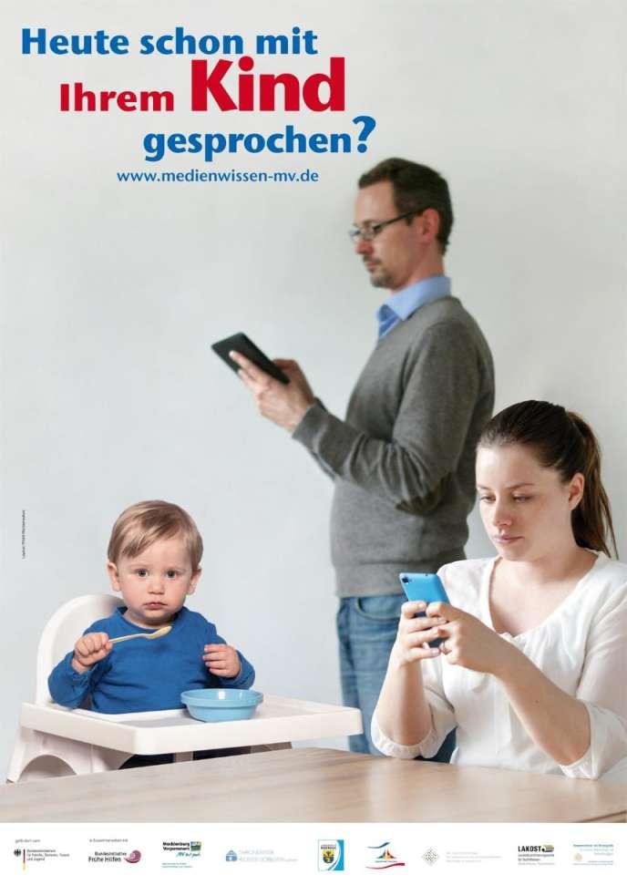 « Avez-vous déjà parlé avec votre enfant aujourd'hui ?» : campagne de sensibilisation à l'addiction aux smartphones en Allemagne.