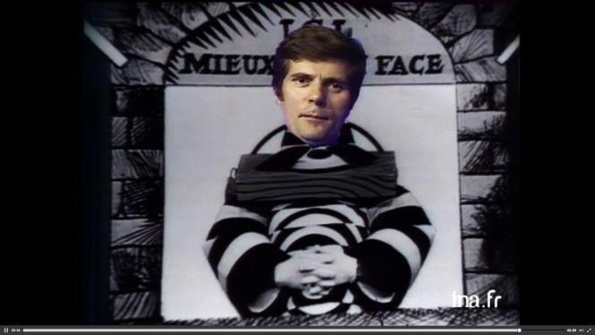 Jean Christophe Averty pose pour un trucage lors d'une emission diffusée par l'ORTF le 30 septembre 1973.