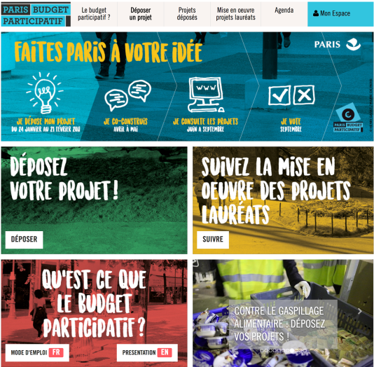 Site du budget participatif de la ville de Paris