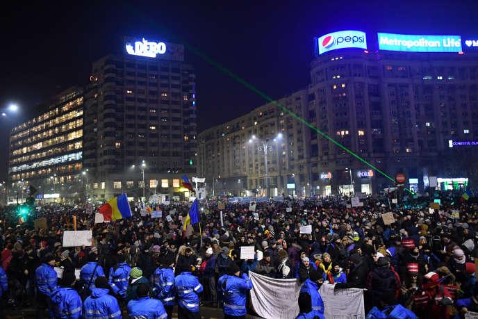 Manifestation à Bucarest, le 2 février.
