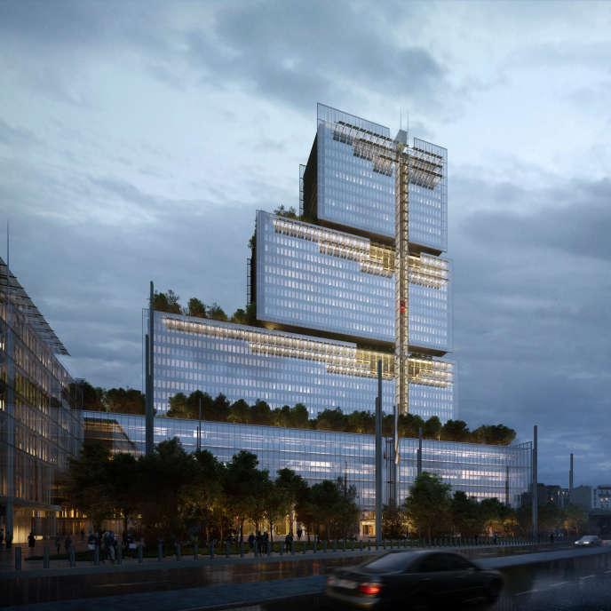 Projet architectural pour le tribunal de grande instance de Paris, Porte de Clichy, conçu par l'architecte italien Renzo Piano.