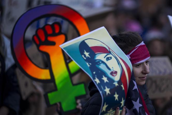 Lors de la Women's March, la Marche des femmes, le 21janvier à Los Angeles, après l'investiture de Donald Trump.
