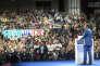 Emmanuel Macron, candidat du mouvement En marche! donne un meeting au Palais des sports de Lyon, samedi 4 février 2017 - 2017©Jean-Claude Coutausse / french-politics pour Le Monde