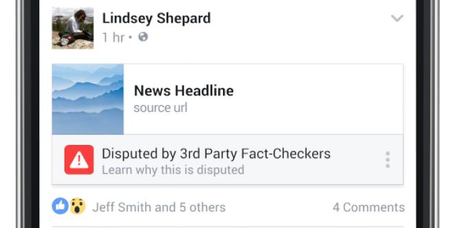 Pour les liens signalés comme problématiques par les médias partenaires de Facebook, un panneau d'avertissement s'affichera lors du partage de ce lien sur le réseau social.