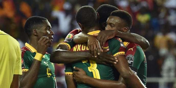 Les joueurs Camerounais, le 5 février à Libreville.